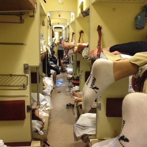 Team on train